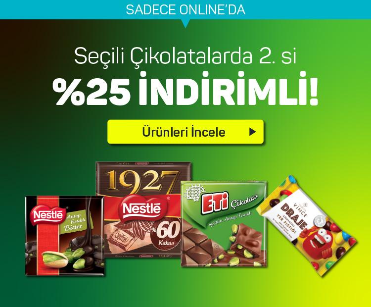Seçili Çikolatalarda 2.si %25 İndirimli
